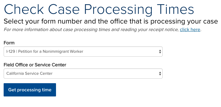 Screenshot of USCIS Processing Times Website. Taken on August 2nd, 2019.