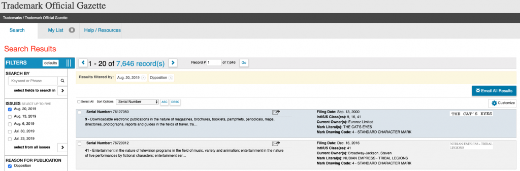 A Sample Screenshot of the Aug. 20th Trademark Official Gazette