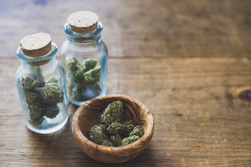 Marijuana in Glass Spice Jars