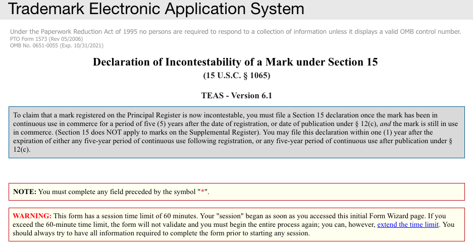 Screenshot of the Online Section 15 Declaration of Incontestability Page