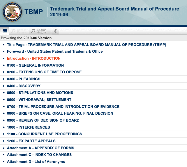 Screenshot of the Trademark Trial and Appeal Board Manual of Procedure