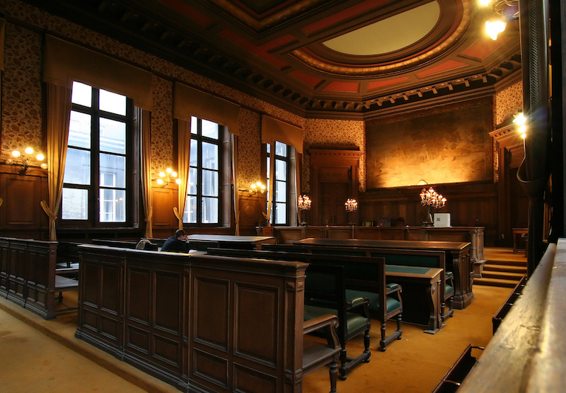 Court room, fancy with dim lighting.