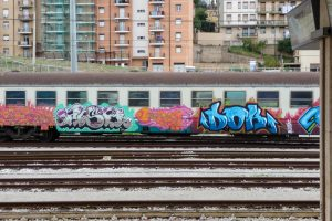 Colorful train with grafifti