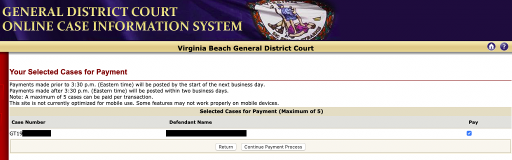 Screenshot of the General District Court payment confirmation screen.
