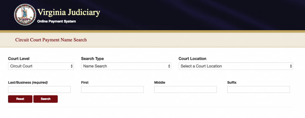 Screenshot of the Virginia Judiciary Online Payment System website.