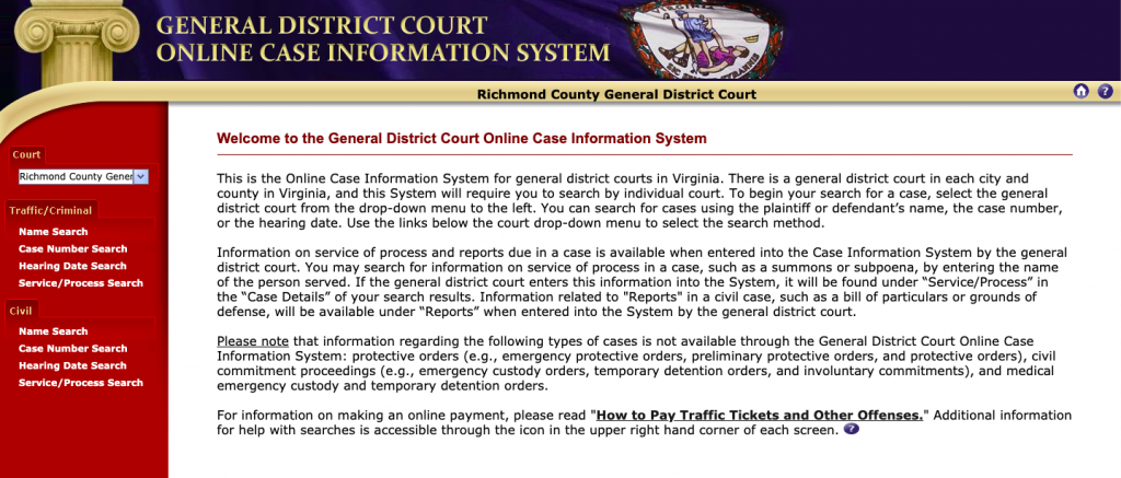 Screenshot of Virginia's General District Court Information System