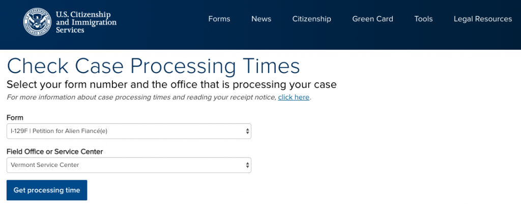 A screenshot from the USCIS processing times page - K-1 visa times at vermont service center