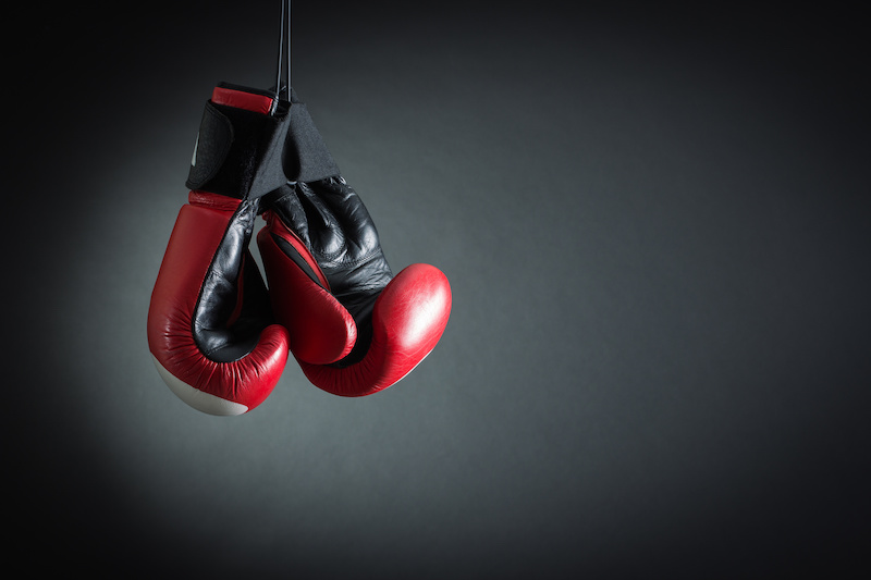 Boxing Gloves on a gray background.
