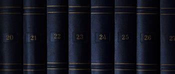 Blue law books on a shelf with gold numbering.