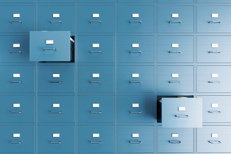 Blue filing cabinets in government building - dmv record concept