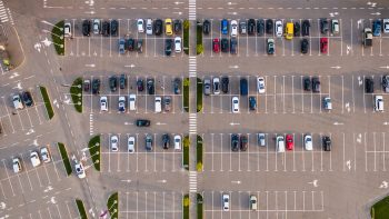 Car parking lot viewed from above.