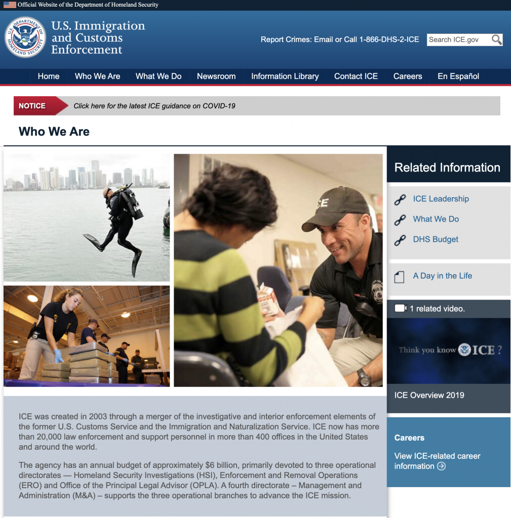Screen Shot of the U.S. Immigration and Customs Enforcement website ice.gov 2020-03-20 at 11.31.53 AM