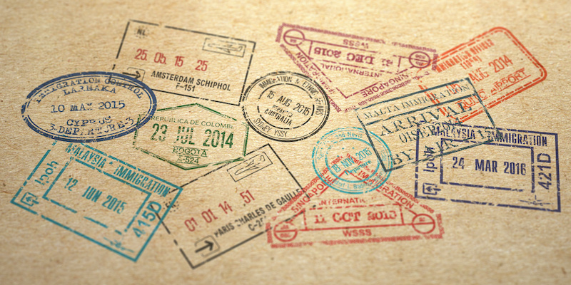 Background from different visa stamps on craft paper, 3d illustration