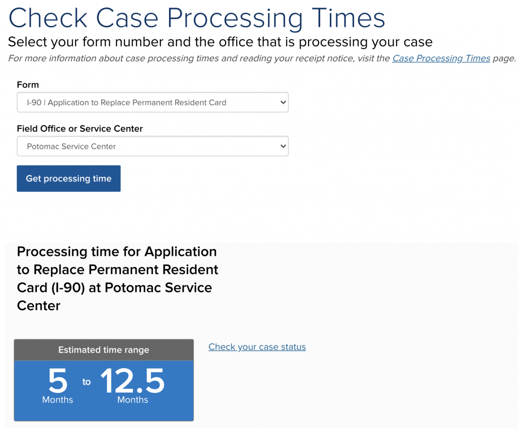 Screen Shot of the USCIS Processing Times Page Taken 2021-01-04