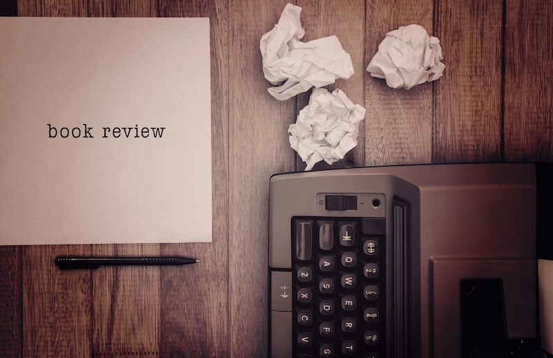Composite image of book review message on a white background