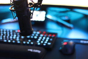 Microphone over a gamers keyboard and mouse